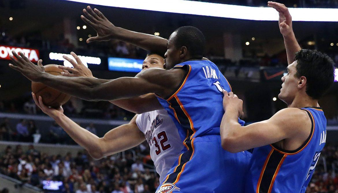 Thunder+forward+Serge+Ibaka+is+among+players+who+must+step+up+for+Oklahoma+City+as+Kevin+Durant+and+Russell+Westbrook+remain+out.+Photo+courtesy+of+Tribune+News+Services.