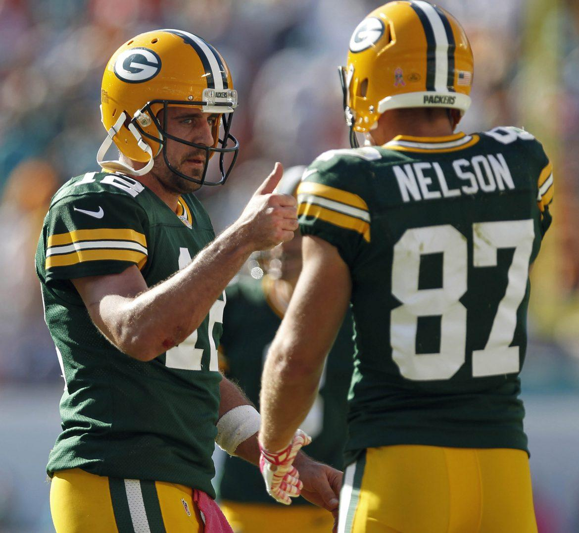 Green Bay Packers quarterback Aaron Rodgers (left) and wide receiver Jordy Nelson (right) are among this week's Thanksgiving Fantasy Football Picks. Photo courtesy of Tribune News Services.