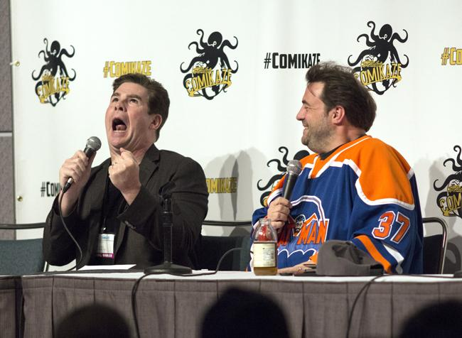 Actor and comedian Ralph Garman geeked out with director Kevin Smith in their Fatman on Batman: A Tribute to Batman '66 panel on day two of Stan Lee's Comikaze on Nov. 1, at the Los Angeles Convention Center. Photo credit: Trevor Stamp/ Senior Photographer