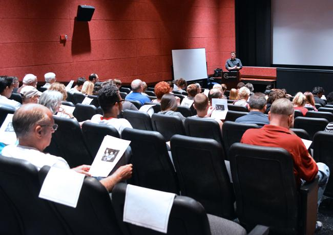 "Tim Halloran gives some brief background info for Thursday nights film ""A Canterbury Tale"" inside the Armer Theater for CSUN Cinematheque. Photo Credit: Patricia Perdomo/ Contributor"