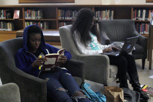 Students, Christine Seite, 21, business law major and Jade Wonts, 21, CTVA major studying in the new Gohstand reading room. Photo Credit: Macie Bennet/The Sundial