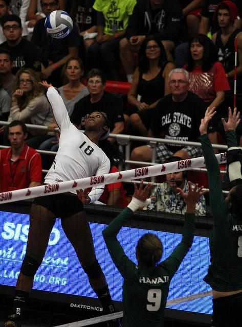 Boykin gets one of her 285 season kills in a big win against Hawai'i. File photo/ The Sundial