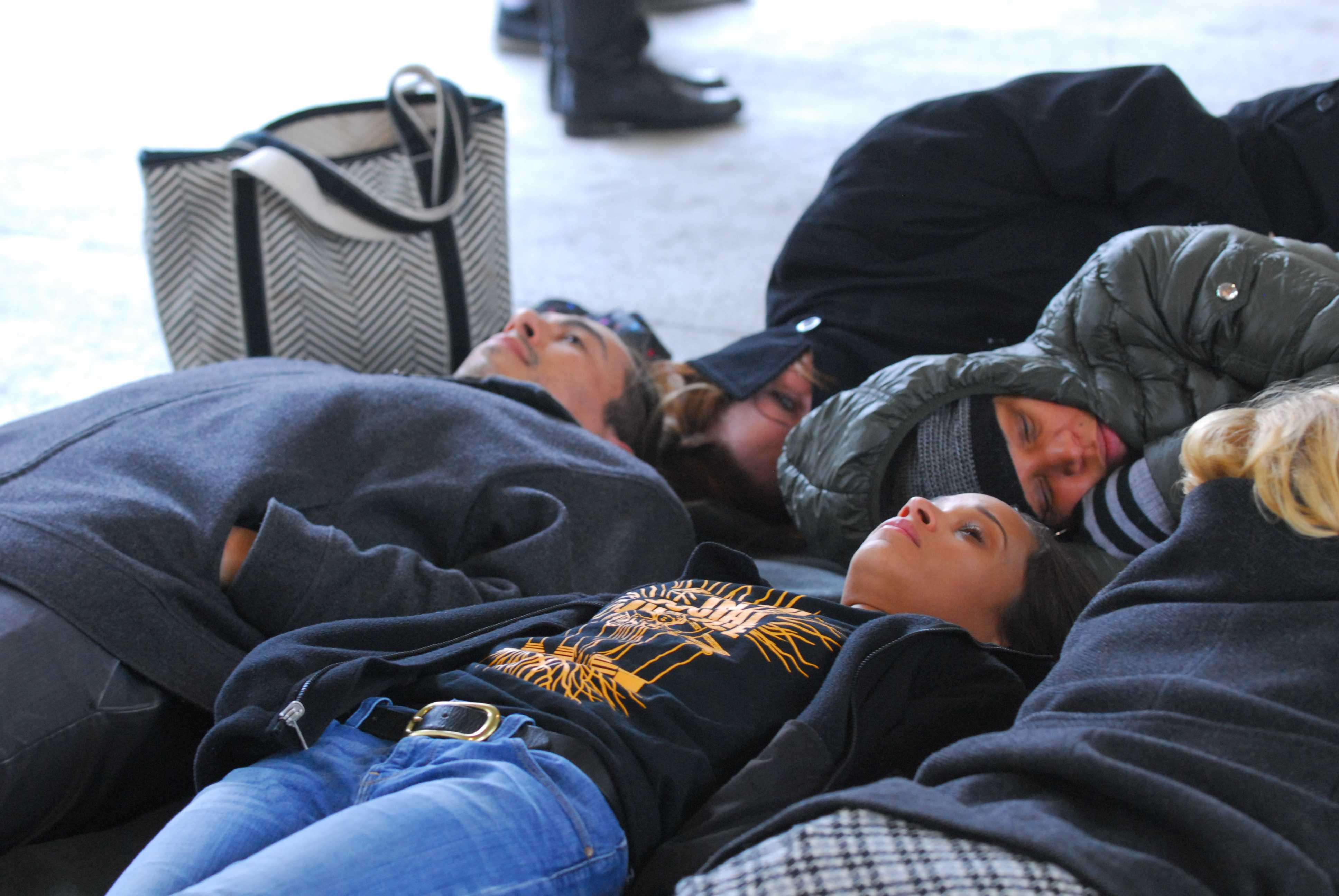 Members of the CSUN chapter of the Black Student Union lie on the ground in protest of the killing of Michael Brown, who was shot by Ferguson police officer Darren Wilson. On Nov. 24, a grand jury decided not to indict Wilson in the shooting of the unarmed teenager.
