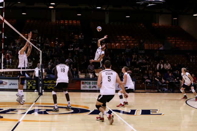 Kyle Stevenson, outside hitter, against Pepperdine Waves. Photo Credit: Kelly Rosales/Contributor