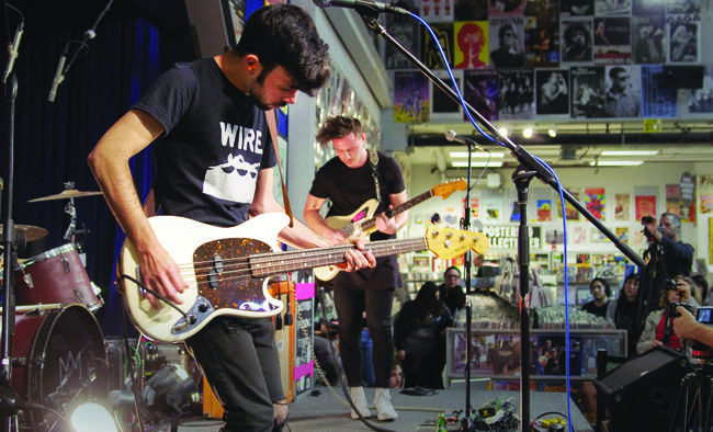Tennis System performs a live set at Amoeba Music in Hollywood on Jan. 15, 2015. (Matthew Delgado / Sundial Photographer)