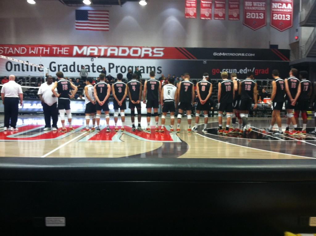 CSUN+lines+up+before+tip-off+against+UCSD+at+the+Matadome.+The+Matadors+swept+the+Tritons+to+make+it+two+sweeps+in+a+row.+Photo+credit%3A+Sarah+Goulding