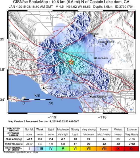 4.2 magnitude earthquake hits near Castaic