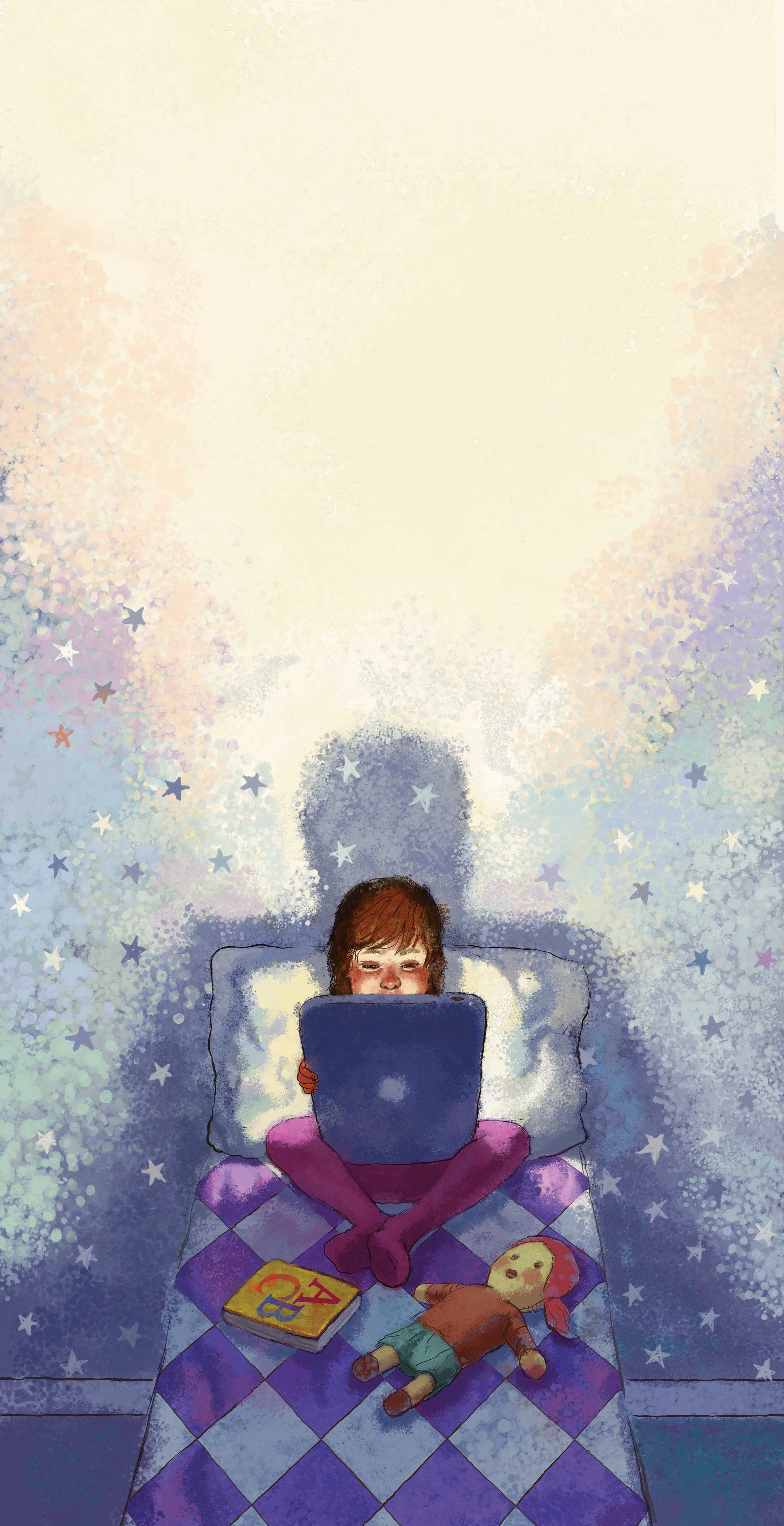 300 dpi Jeff Durham illustration of a child sitting in bed reading a tablet under a starry sky. (Bay Area News Group/MCT)
