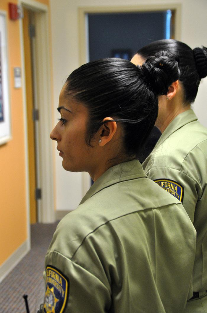 CSUN Police Deparment's cadets, Stacey Nowak and Jennifer Sanchez, participate in the 911 campaign on Feb. 3