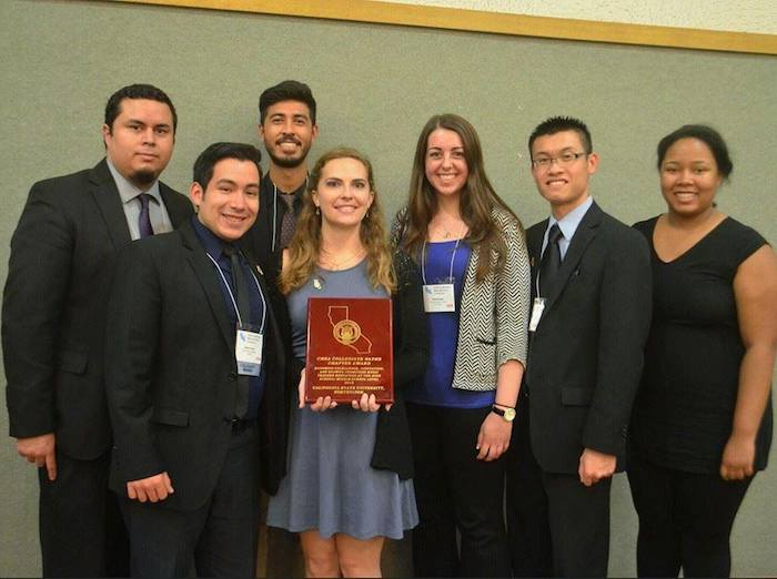 CSUN NAfME officers with their CMEA Collegiate NAfME Chapter Award at the CMEA Awards Gala on Friday February 20th, 2015 (left to right) Eric Cañas, Kelvin Flores, Andres Villanueva, Kelly McCarley, Kelly Brooks, Robin Gin, Aminata Touncara