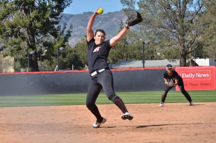 Senior pitcher Brianna Elder kept it at a tie game after striking out three of her opponents. Photo credit: Nate Perez