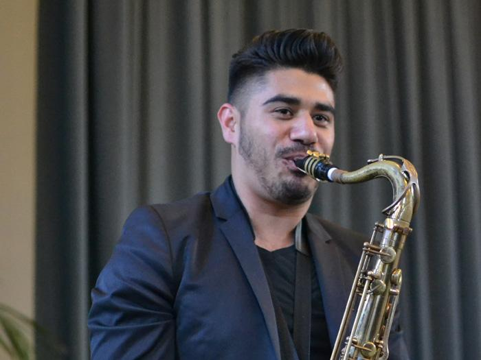 Jazz studies major Fabian Chavez serenaded the crowd at the USU's