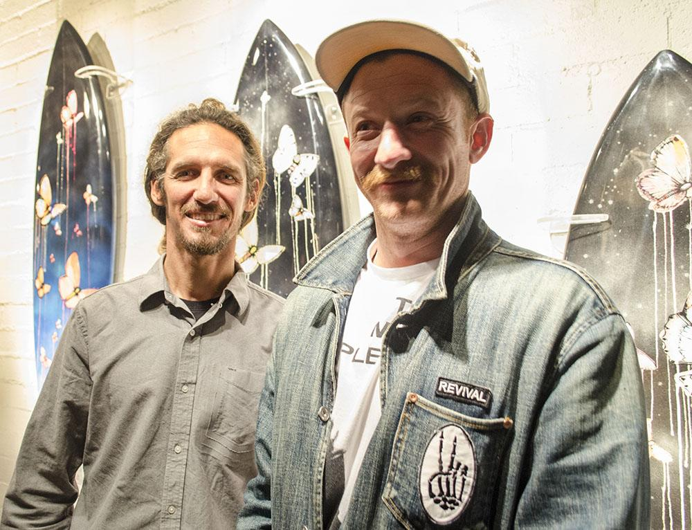 Rob Machado (left) and Sage Vaughn (right) welcomed family, fans, and friends throughout the night at their exhibit at Flood Magazine Gallery in Los Angeles, Calif., on Jan. 29, 2015. Photo credit: Raul Martinez
