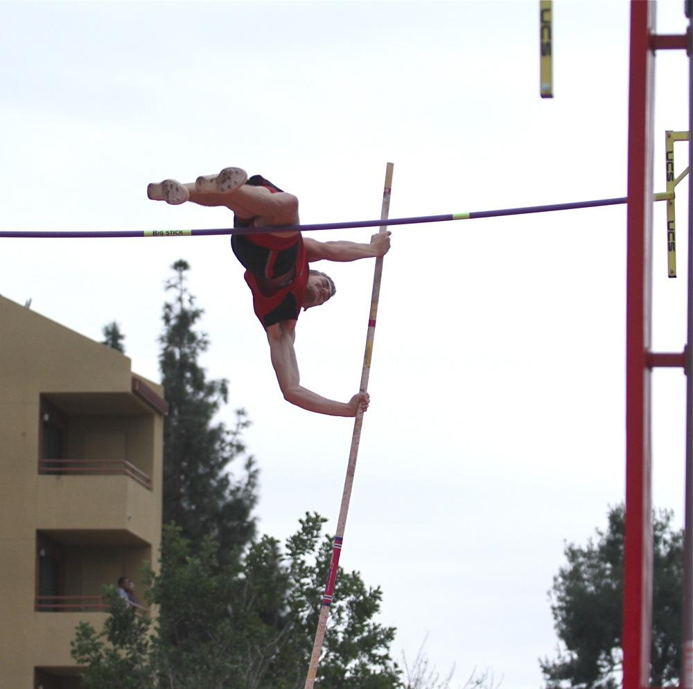 CSUN's Taylor Cudequest, a 21-year-old freshman, practices the pole vault at the All Comers meet on Feb. 7, 2015.