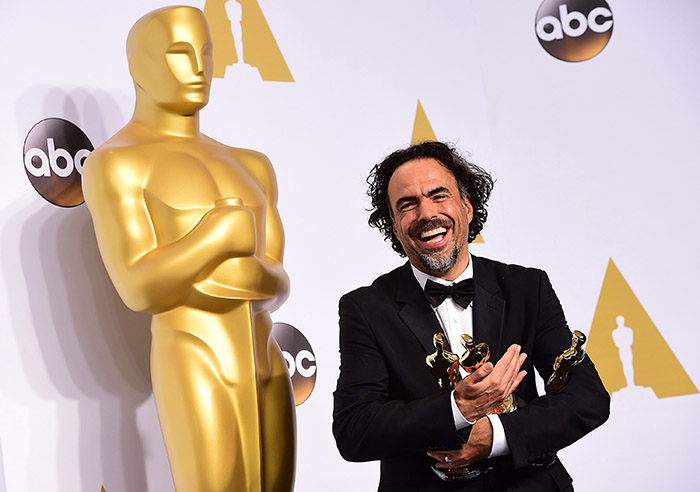Alejandro+G.+Inarritu+accepts+the+award+for+best+director+for+%26quot%3BBirdman+or+%28The+Unexpected+Virtue+of+Ignorance%29%26apos%3B%26apos%3B%2C+in+the+press+room+of+the+87th+Academy+Awards+on+Sunday%2C+Feb.+22%2C+2015%2C+at+the+Dolby+Theatre+in+Hollywood.+%28Ian+West%2FPA+Wire%2FTNS%29