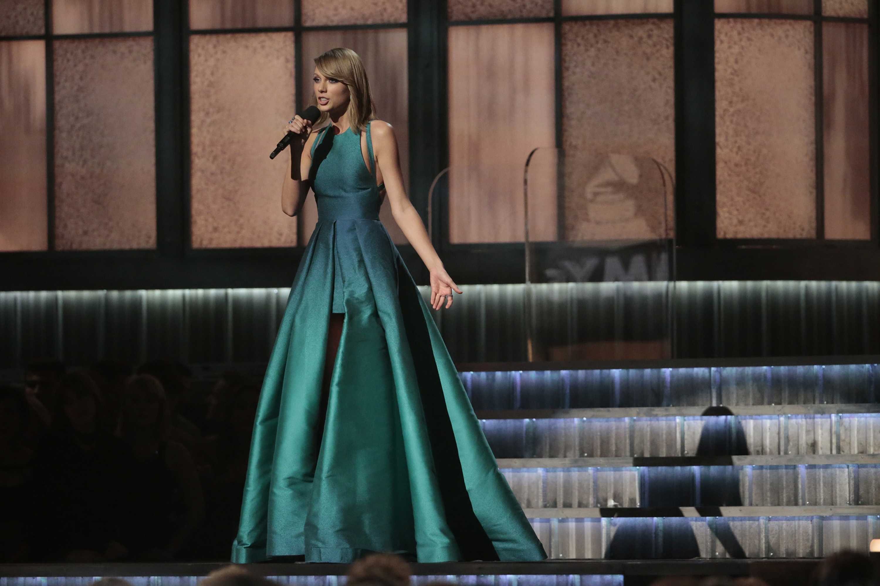 Taylor Swift on stage at the 57th Annual Grammy Awards at Staples Center in Los Angeles on Sunday, Feb. 8, 2015. (Robert Gauthier/TNS)