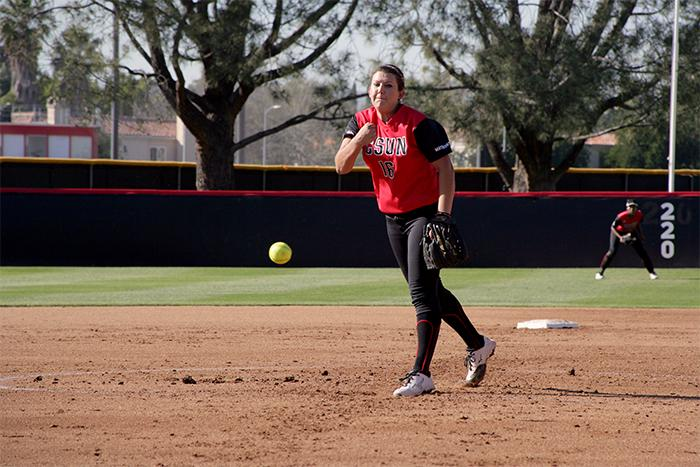 Brianna+Elder+pitched+a+solid+four+innings+and+held+the+opposition+to+just+one+run+as+the+Matadors+defeat+Utah+Valley+College+in+the+second+game+of+a+double+header+on+Wed.+Feb.+25%2C+2015.+Raul+Martinez%2FStaff+Photographer+Photo+credit%3A+Raul+Martinez
