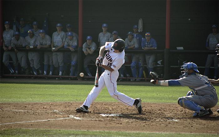 Justin Toerner battles at the plate in a 7-3 loss by the Matadors versus the No. 11 UCLA Bruins on Tuesday Feb. 17, 2015 at Matador Stadium in Northridge, Calif. Staff Photographer/ Raul Martinez Photo credit: Raul Martinez