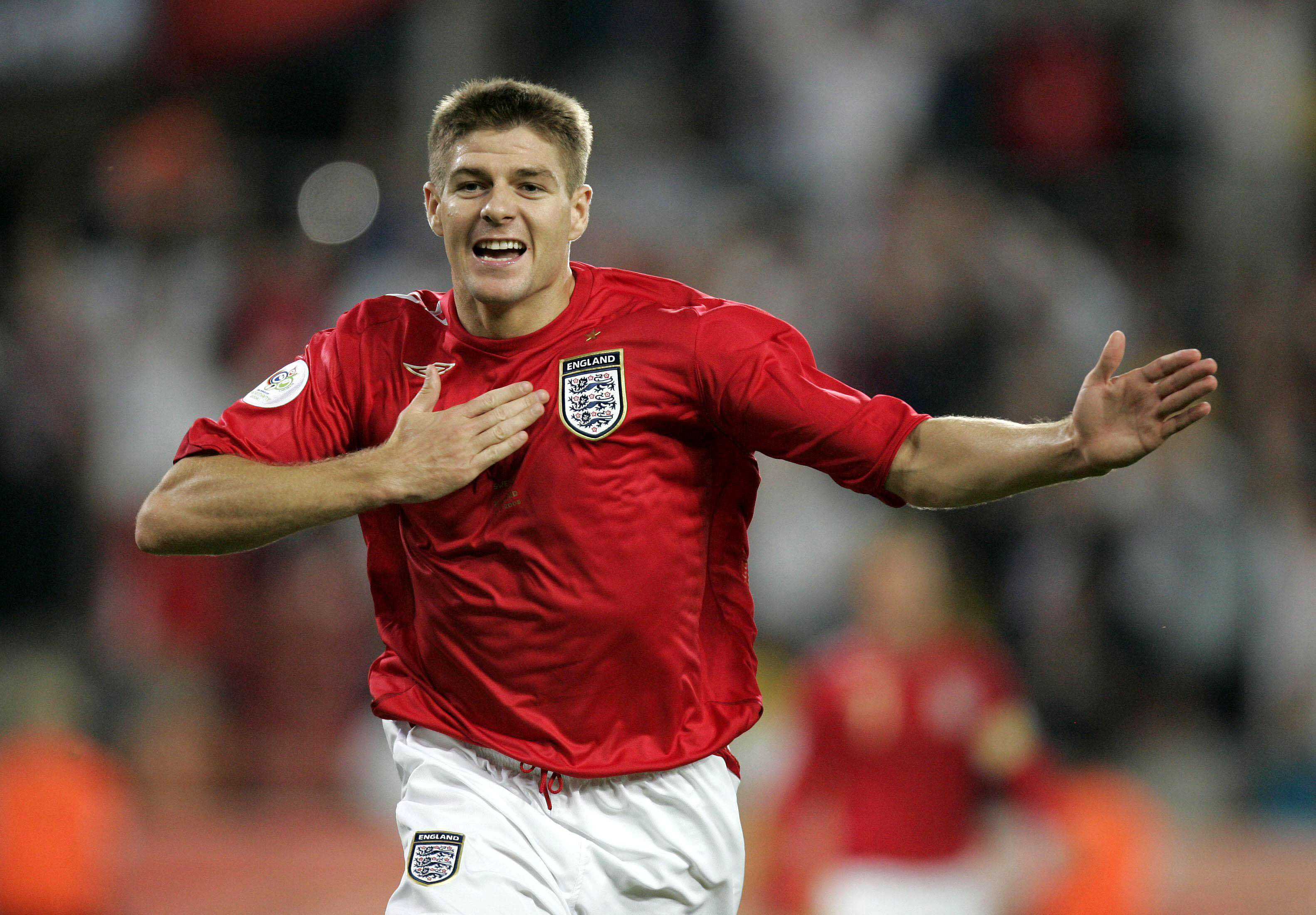 Steven Gerrard celebrates his and England's second goal during Group B action in the 2006 FIFA World Cup in Cologne, Germany, Tuesday, June 20, 2006. England tied Sweden 2-2. (Stuart Robinson/Express Syndication/KRT)