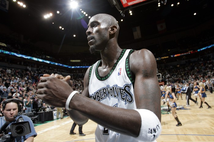 Minnesota Timberwolves' Kevin Garnett returns to the team that drafted him in 1995. Photo courtesy of TNS.
