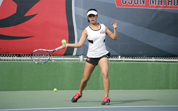 After winning her doubles match, Vivian Lin drops her singles game in two straight sets giving the only win to Towson University who lost by an overall score 6-1 to the Matadors on Tuesday, March 17. (Raul Martinez/ Staff Photographer)