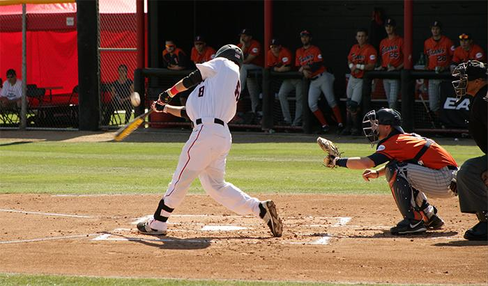 Senior Chester Pak struggles leading off for the Matadors going 0 for 5 in the day with 2 strikeouts in the loss to Cal State Fullerton by a final score of 5-3  in the Big West Conference home opener game, Fri., Mar. 27, at Matadors Field. (Raul Martinez/ The Sundial)