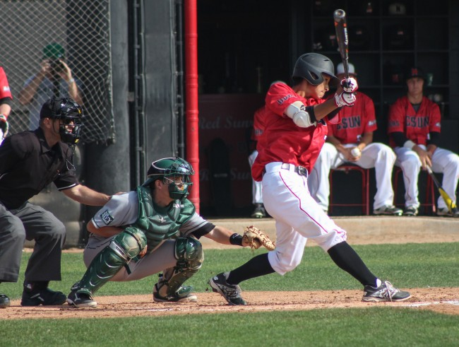 Yusuke Akitoshi hits and is singled to right field at the bottom of the 3rd inning helping the Matadors win over Dartmouth Saturday morning.