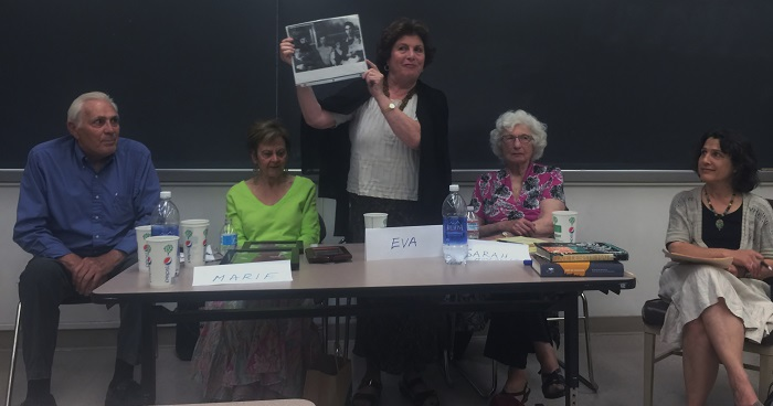 Eva Brettler (middle) shows her family picture to students at the Child Survivor lecture, a presentation of three Holocaust survivors, at Sierra Hall on March 26. Photo credit: Aiyi Kang
