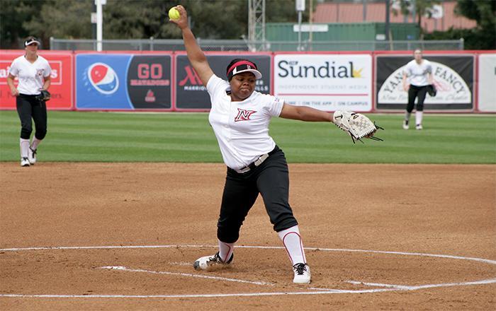 Freshman pitcher Zoe Conley has been dominant all season. Raul Martinez/ Staff Photographer Photo credit: Raul Martinez