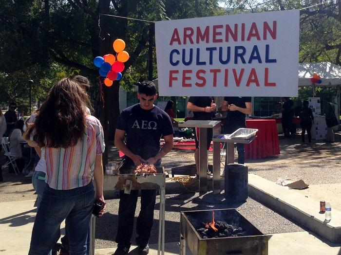 Edward Shamirian, a member of the Armenian Student Association, cooks a classic Armenian bbq at the annual Armenian Cultural Festival with the help of other members on March 19. Photo credit: Saffana Hijaz