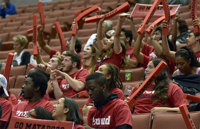 Matador fans enjoy the game as they witness their womens basketball team advance to the finals with a final score of 61-47against  UC Davis in the Big West Semifinals on March 13. (Raul Martinez / Staff Photographer)