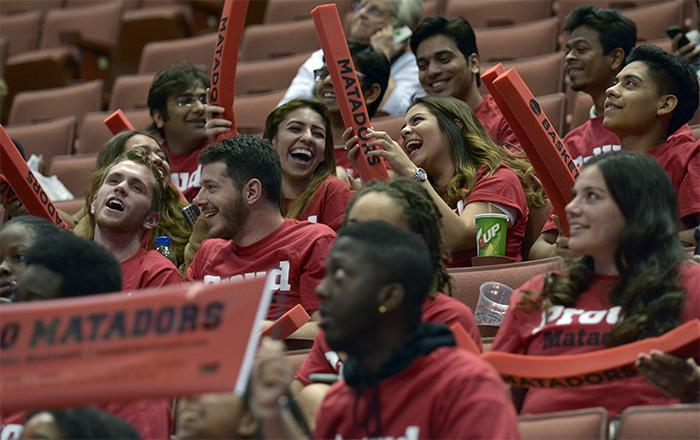 Matador fans enjoy the game as they witness their women's basketball team advance to the finals with a final score of 61-47against  UC Davis in the Big West Semifinals on March 13. (Raul Martinez / Staff Photographer)