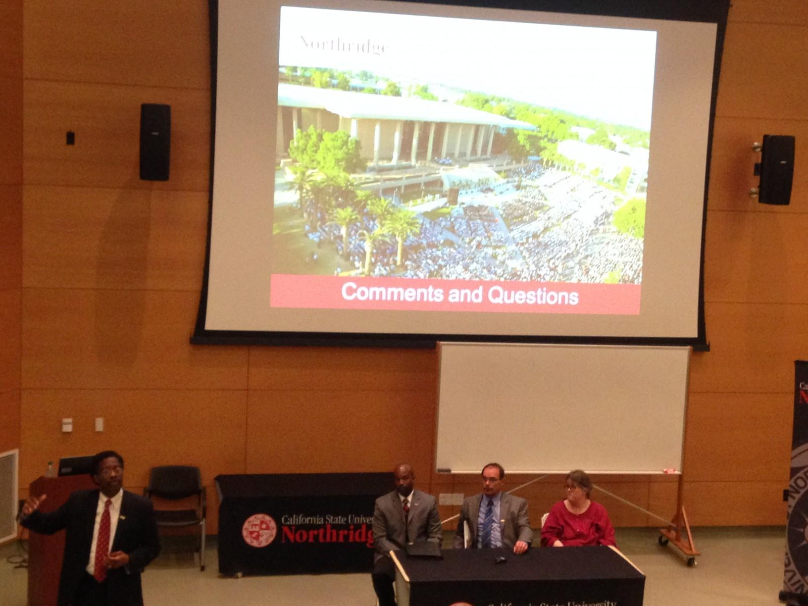 William Watkins, left, clarifies steps of impaction with Dwayne Cantrell, director of student outreach and recruitment, Vice Provost Micheal Neubauer, and Elizabeth Adams, associate vice president of undergraduate studies, at the final public community hearing at Moorpark College on March 11. Photo credit: Saffana Hijaz