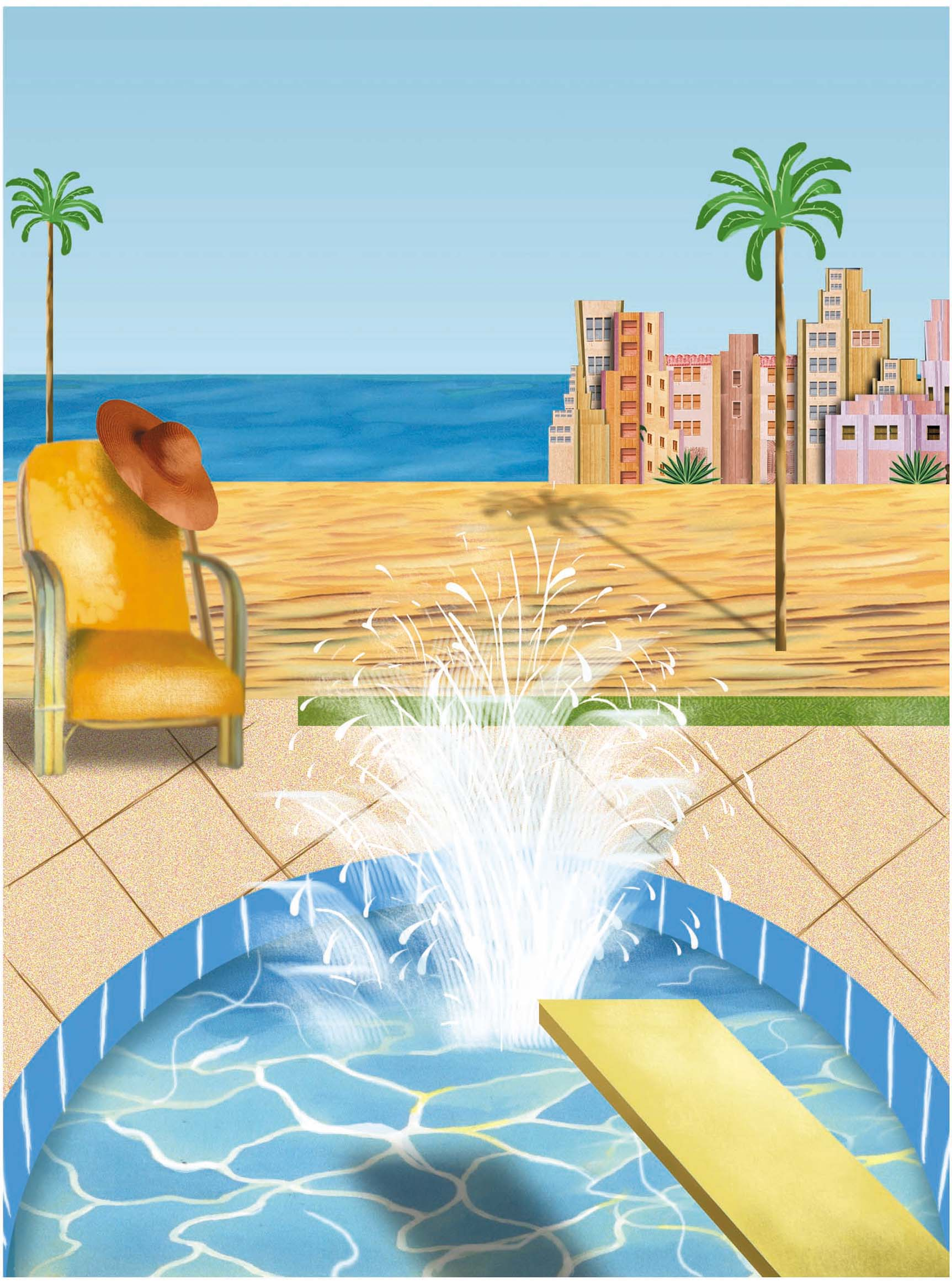 300 dpi 3 col x 7.75 in / 146x197 mm / 497x670 pixels Philip Brooker color illustration of a beachfront pool in Miami's South Beach. The Miami Herald 2003