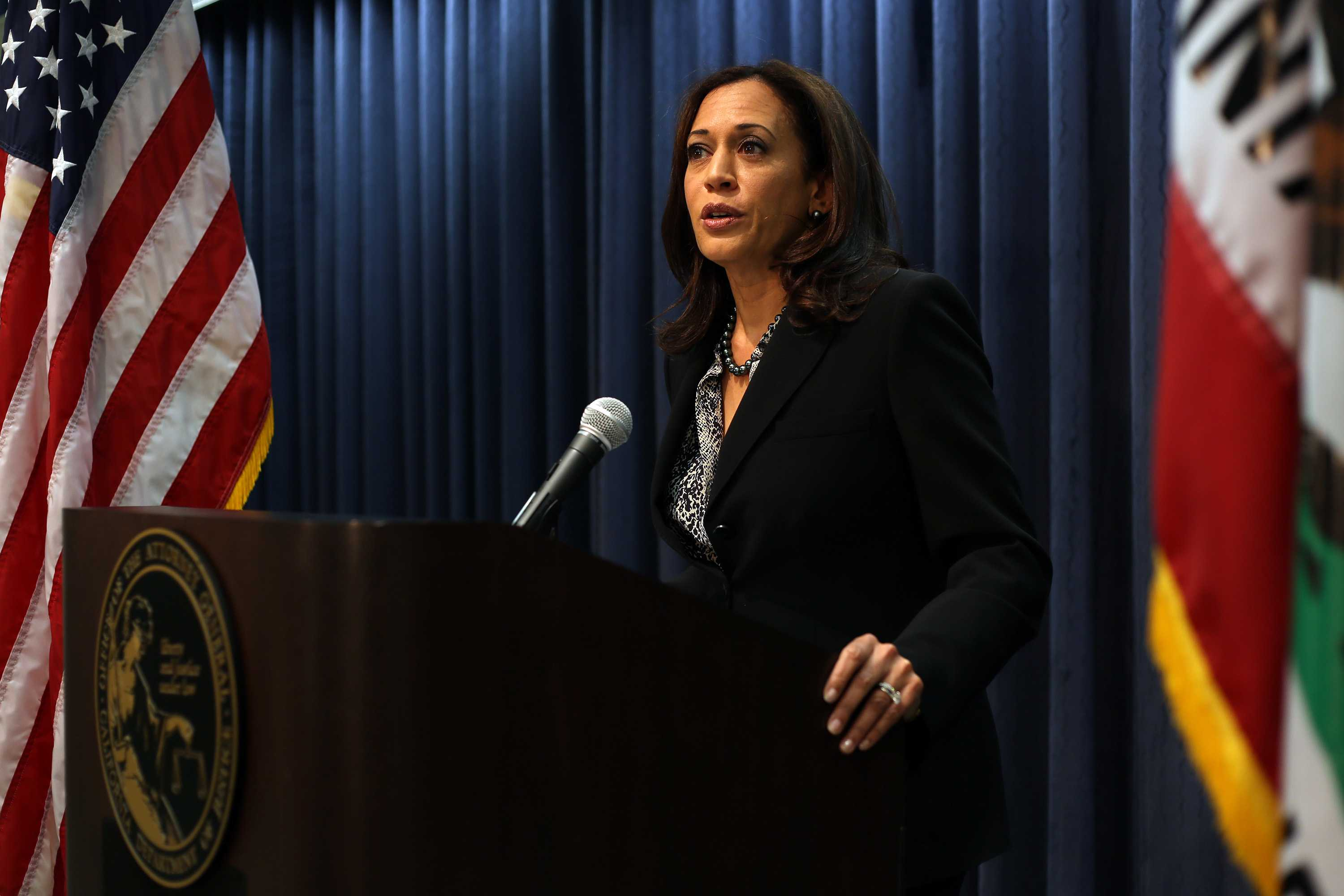Attorney General Kamala D. Harris addresses a news conference on Tuesday, Feb. 3, 2015, on the verdict in the cyber exploitation