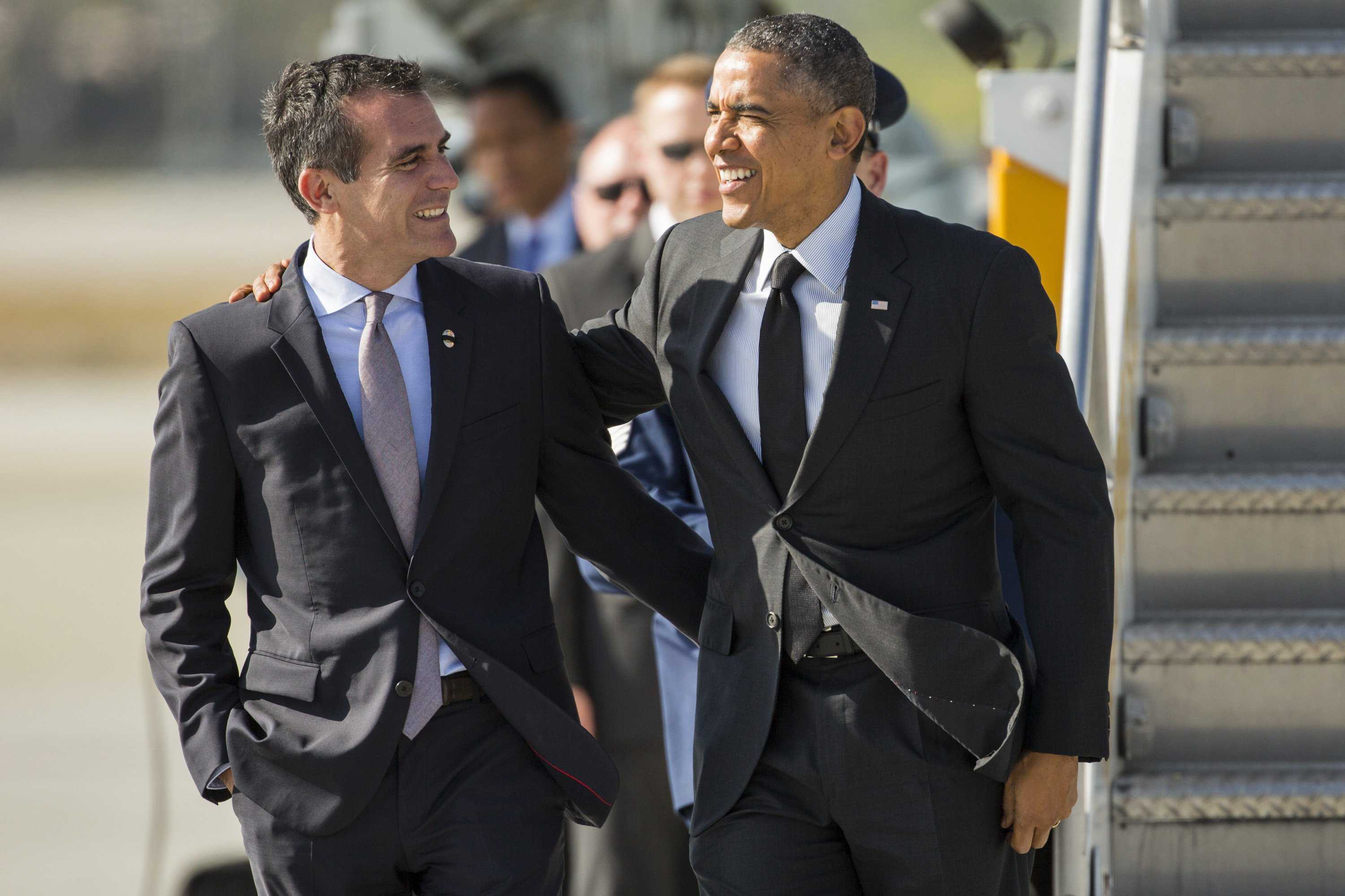 President Barack Obama greets Los Angeles Mayor Eric Garcetti at LAX on Wednesday, May 7, 2014, in Los Angeles. (Jay L. Clendenin/Los Angeles Times/MCT)
