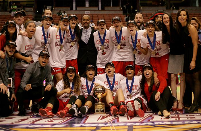 The CSUN Matadors celebrate thier back-to-back title in the Big West Conference after deefeating Hawaii by a final score of 67-60 at the Honda Center on March 14.