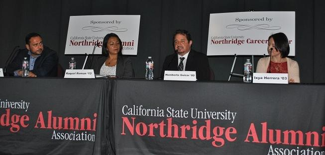 CSUN+alumnus+Humberto+Garcia+discusses+his+journey+as+a+civil+rights+attorney+at+an+alumni+panel+on+March+26.+%28Leni+Maiai%2FSundial+Contributor%29+