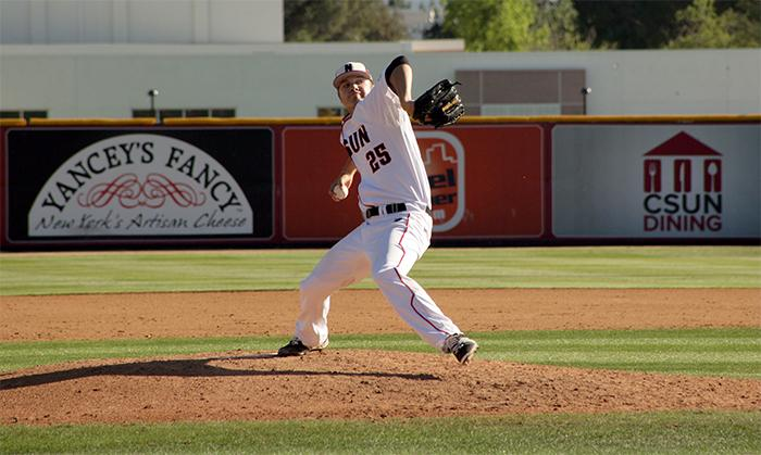 Sophmore Conner ONeil gave up the lead to Cal State Fullerton after entering the game in relief fgiving him his second loss of the year by a final score of 5-3 in the Big West Conference home opener game, Fri., Mar. 28, at Matadors Field. (Raul Martinez/ The Sundial)