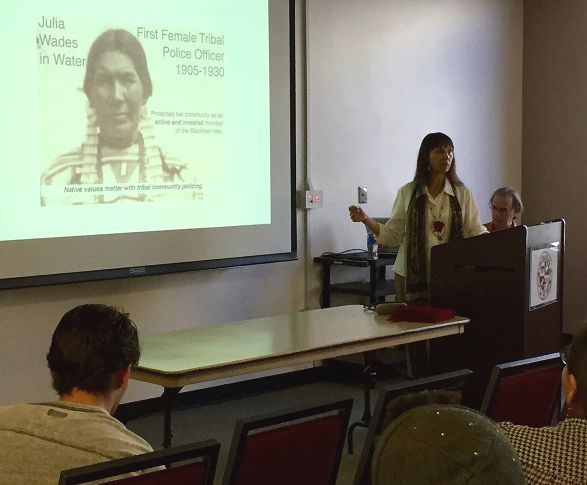 Dr. Luana Ross talked about the criminalization of Native Americans and their efforts to fight against the injustices that have happened to them during a lecture on March 23. Photo credit: Nicolette Hinojos