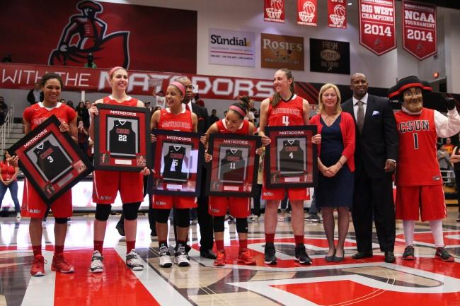 The Women's Basketball seniors (left to right) Janae Sharpe, Randi Friess, Ashlee Guay, Cinnamon Lister and Camille Mahlknecht were honored following the Matadors' game against Long Beach on March 5, 2015. (Trevor Stamp / Multimedia Editor)