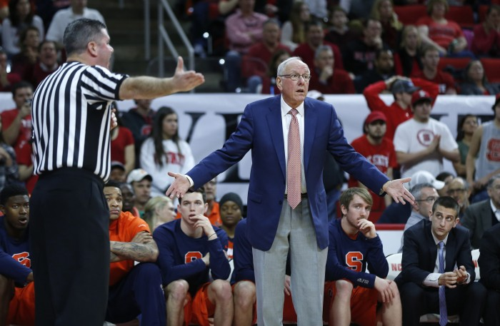 Syracuse head coach Jim Boeheim can't believe an official's call during the first half against North Carolina State at PNC Arena in Raleigh, N.C., on Saturday, March 7, 2015. N.C. State won, 71-57. (Ethan Hyman/Raleigh News & Observer/TNS)