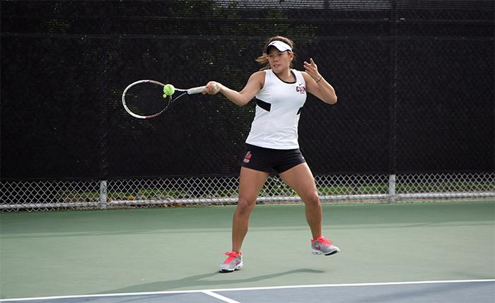 Kiryang Kim returns the serve in an intense game that went to three setsand finished with Kim's 10-8 victory and a CSUN 6-1 victory over Towson University on Tuesday, March 17. (Raul Martinez/ Staff Photographer)