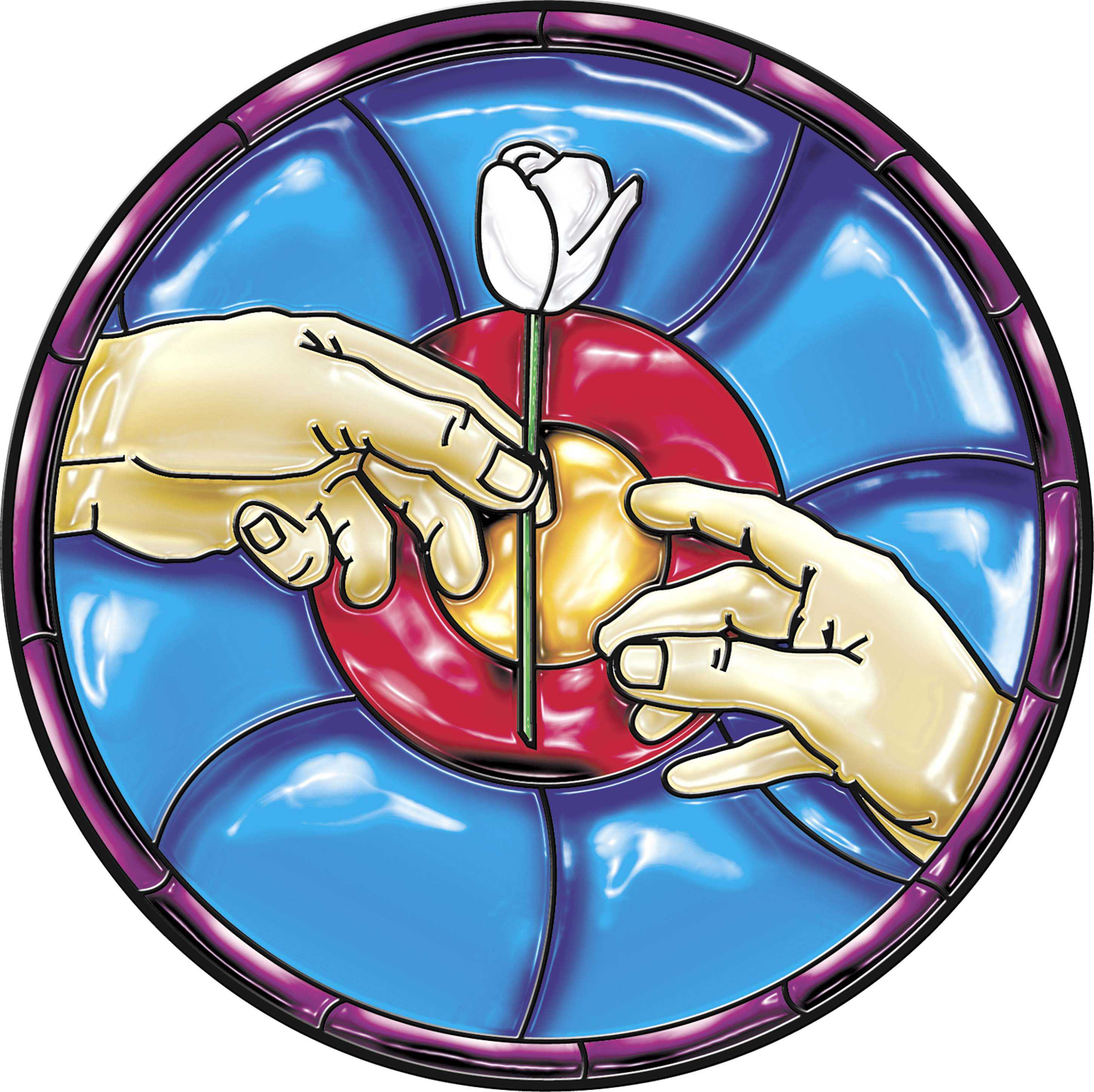 300 dpi Fred Matamoros color illustration of stained-glass image of one hand offering a white rose to another hand. The News Tribune (Tacoma, Wash.) 2007.