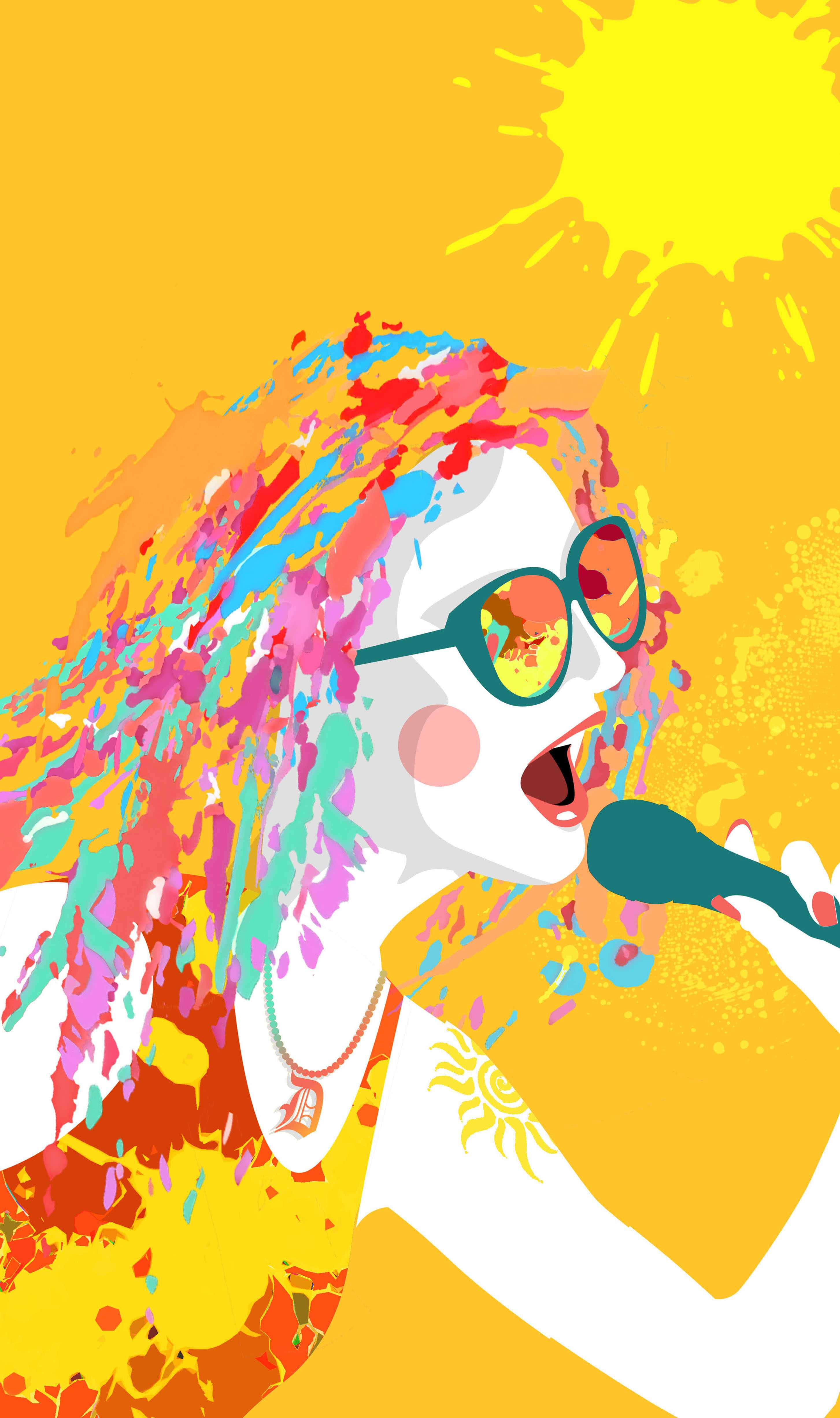 Rick Nease illustration of woman singing at a summer concert. Detroit Free Press 2011.