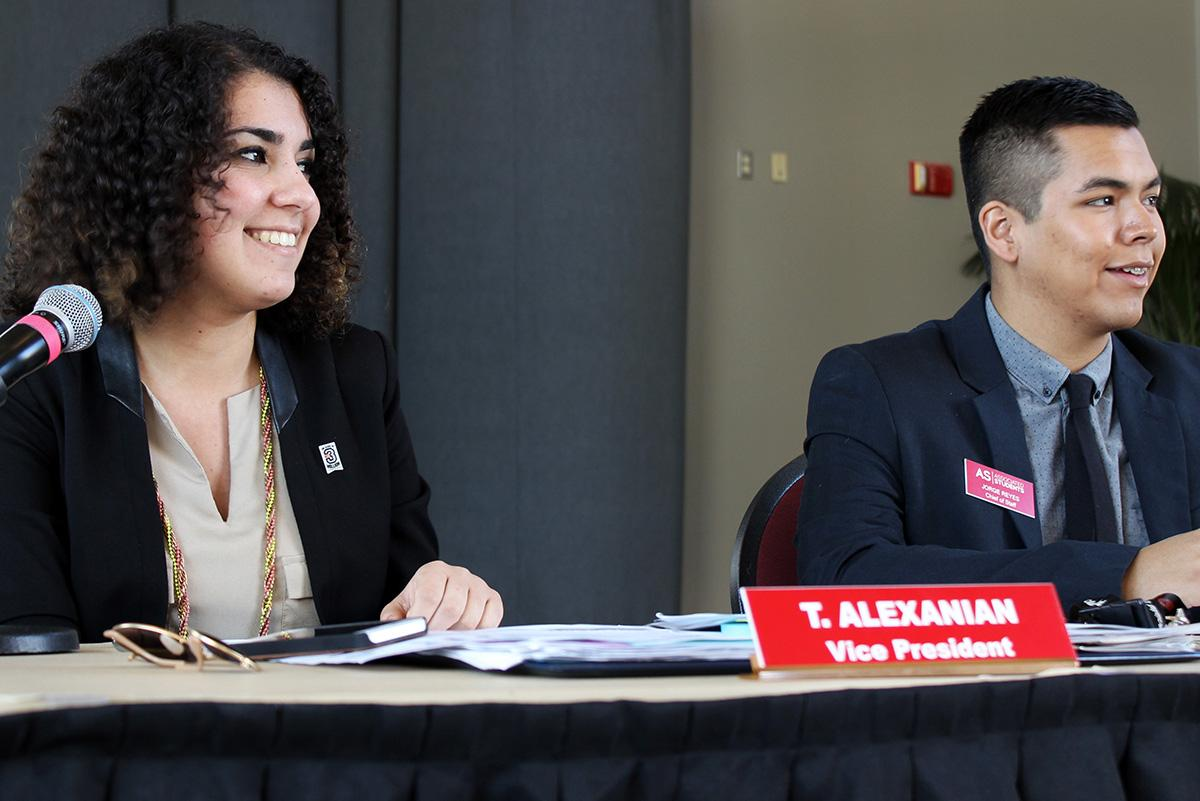Associated Students vice president Talar Alexanian briefly asks the senate members if they are excited for the Farmer's Market during the AS senate meeting on Feb. 2, 2015. Wynnona Loredo / Staff Photographer