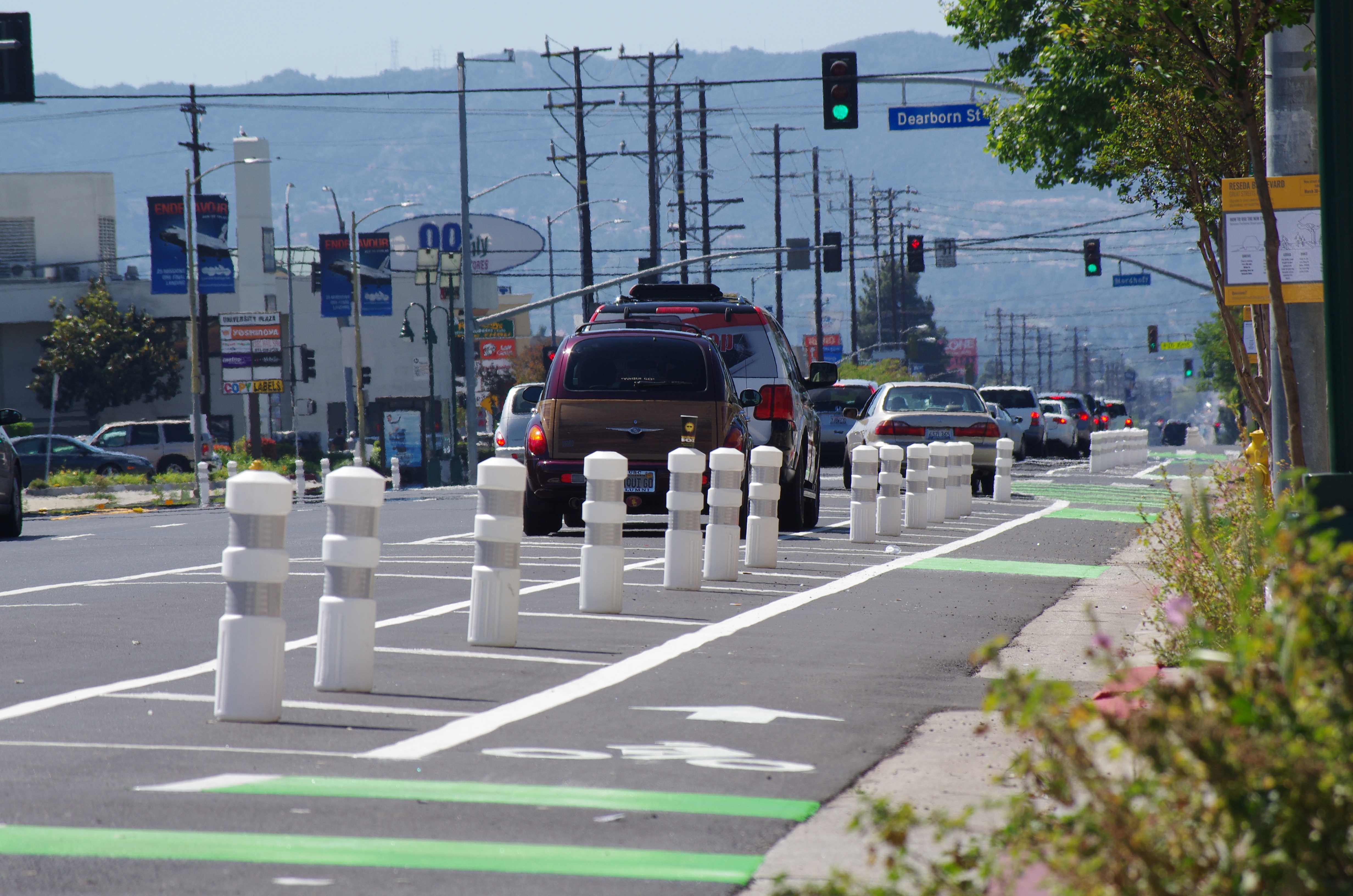 Part of the Great Streets Project, the new parking-protected bicycle lanes along Reseda Blvd., will be from Plummer St. and Parthenia St., protecting cyclist for a one-mile stretch (Matthew Delgado / Staff Photographer)