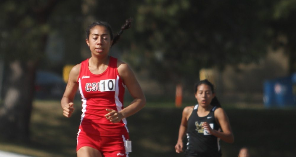 FILE PHOTO - Junior Jocelyne Ferrufino finished third in the women's 3000 meter run in the Northridge Invitational at the Matador Track Complex on March 21, 2015. (Richard Kontas / The Sundial)