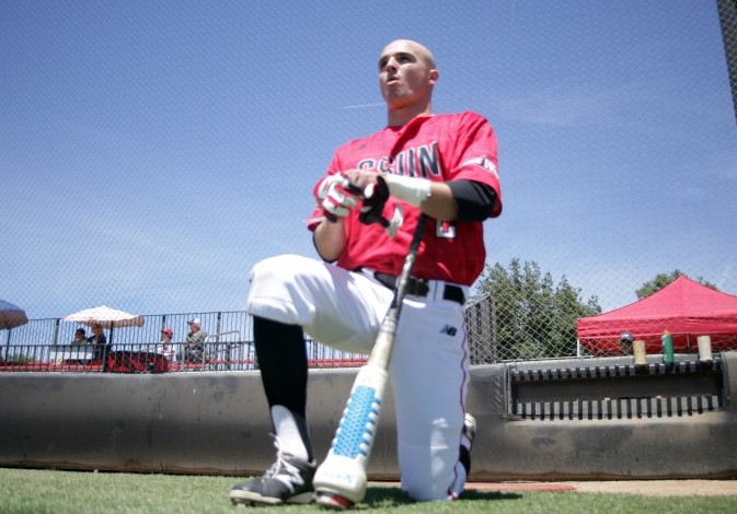 Infielder Ryan Raslowsky prepares for CSUN's game against UC Riverside on April 26. Raul Martinez/The Sundial