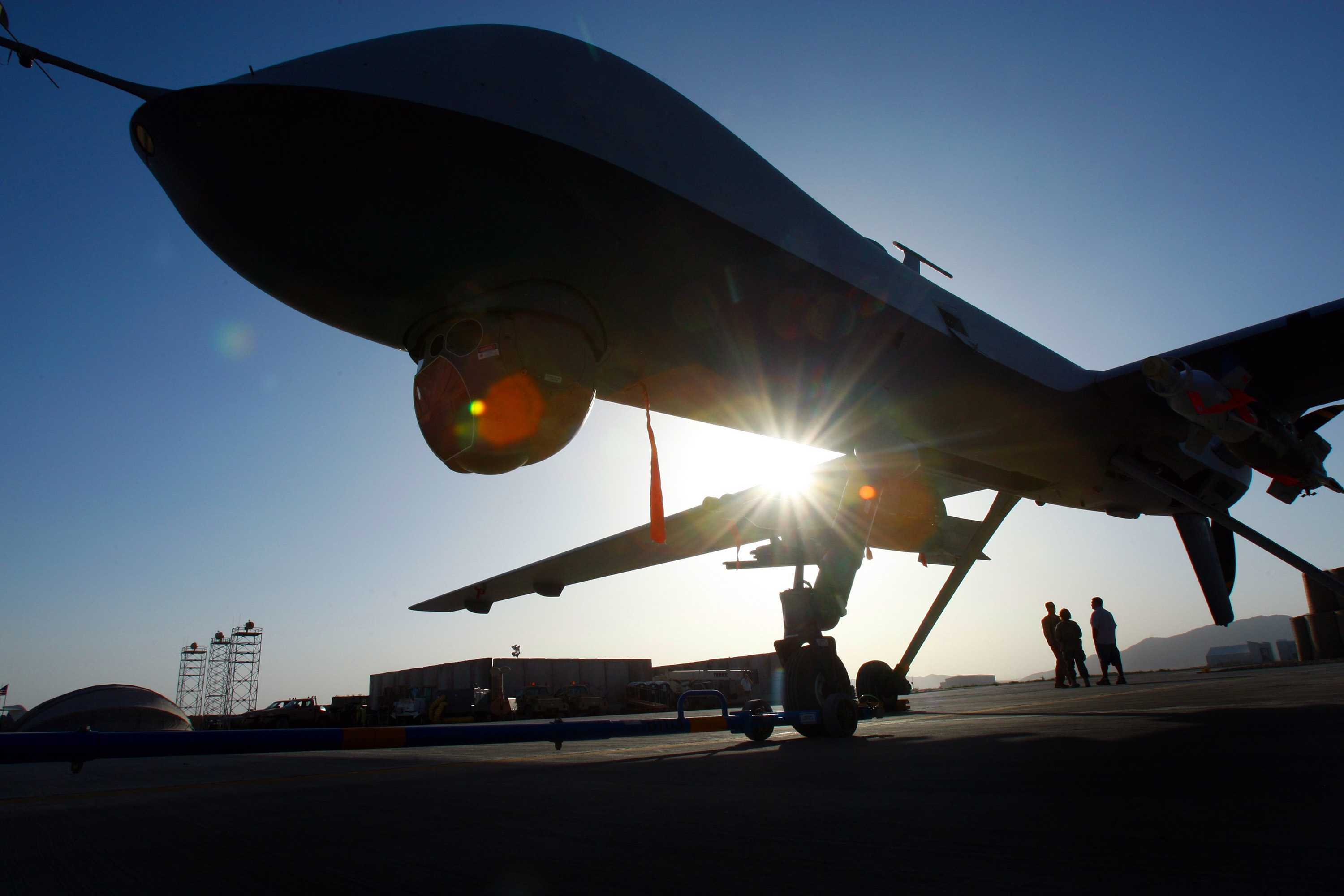 A Predator drone in Kandahar, Afghanistan. A growing fleet of U.S. spy planes and drones in Asia, Africa, the Middle East and elsewhere alllows Air Force analysts to gather intelligence without ground combat troops. (Rick Loomis/Los Angeles Times/TNS)